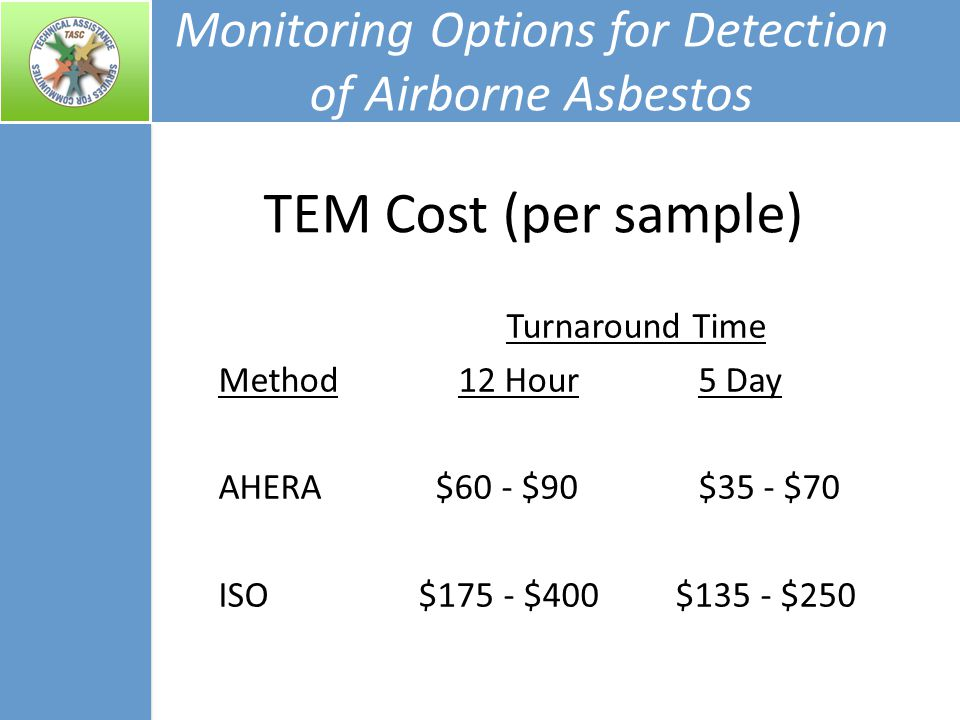 Monitoring Options for Detection of Airborne Asbestos Turnaround Time Method12 Hour5 Day AHERA $60 - $90$35 - $70 ISO $175 - $400 $135 - $250 TEM Cost (per sample)