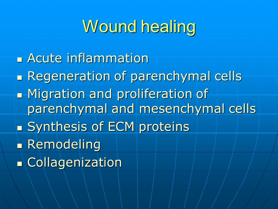Wound healing Acute inflammation Acute inflammation Regeneration of parenchymal cells Regeneration of parenchymal cells Migration and proliferation of parenchymal and mesenchymal cells Migration and proliferation of parenchymal and mesenchymal cells Synthesis of ECM proteins Synthesis of ECM proteins Remodeling Remodeling Collagenization Collagenization