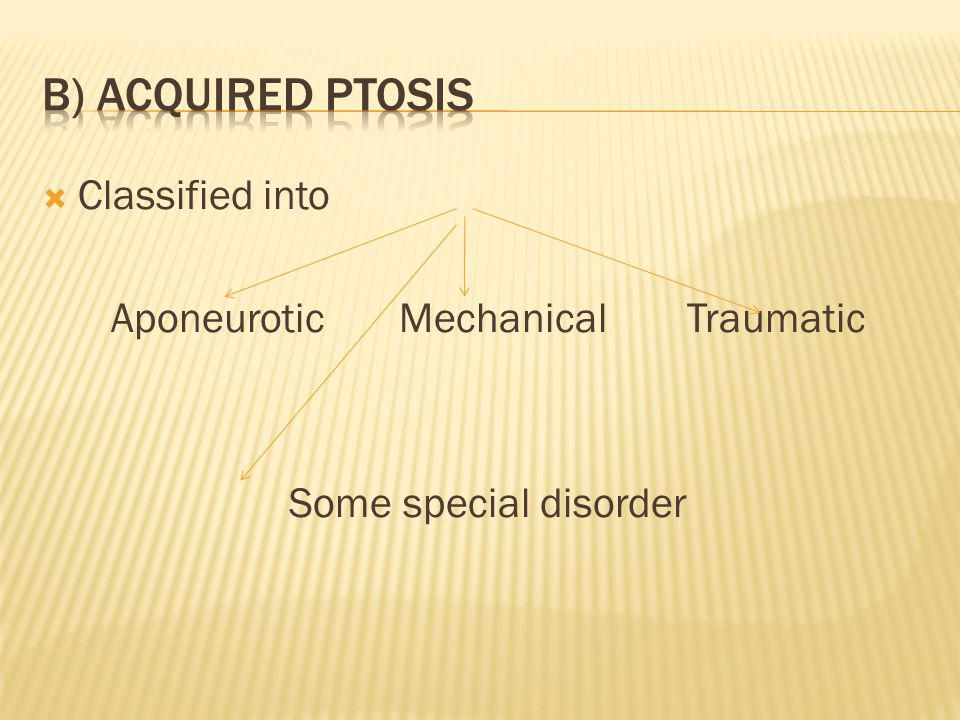  Classified into Aponeurotic MechanicalTraumatic Some special disorder