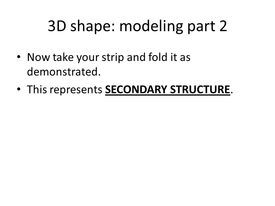 3D shape: modeling part 2 Now take your strip and fold it as demonstrated.