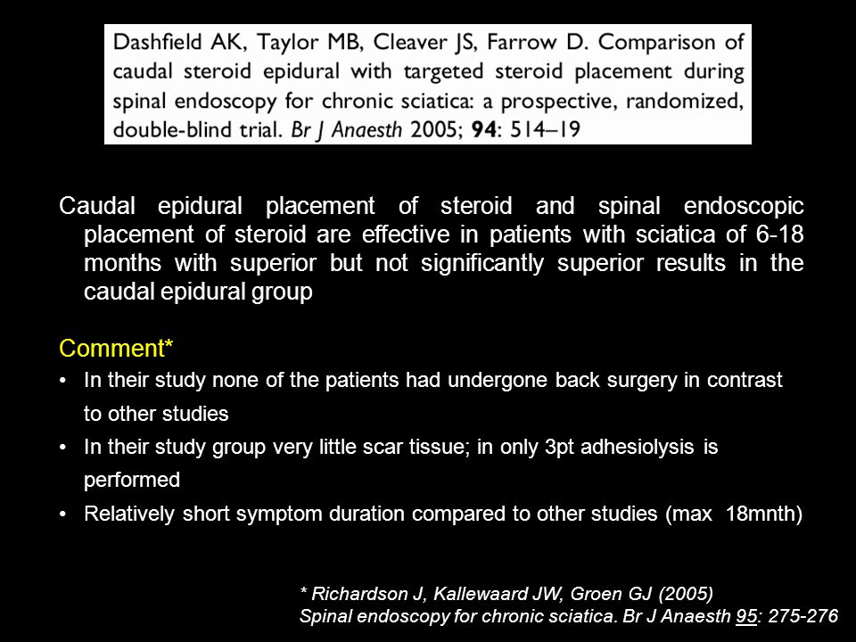 * Richardson J, Kallewaard JW, Groen GJ (2005) Spinal endoscopy for chronic sciatica. Br J Anaesth 95: 275-276 Caudal epidural placement of steroid an
