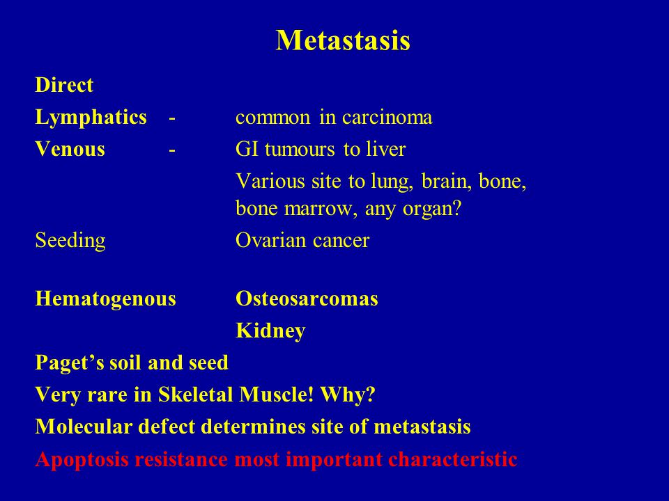 Metastasis Direct Lymphatics-common in carcinoma Venous-GI tumours to liver Various site to lung, brain, bone, bone marrow, any organ? SeedingOvarian