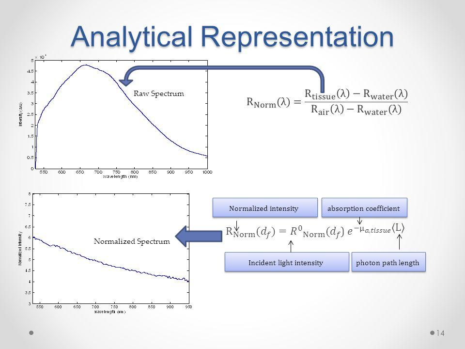 Analytical Representation 14 Raw Spectrum Normalized Spectrum