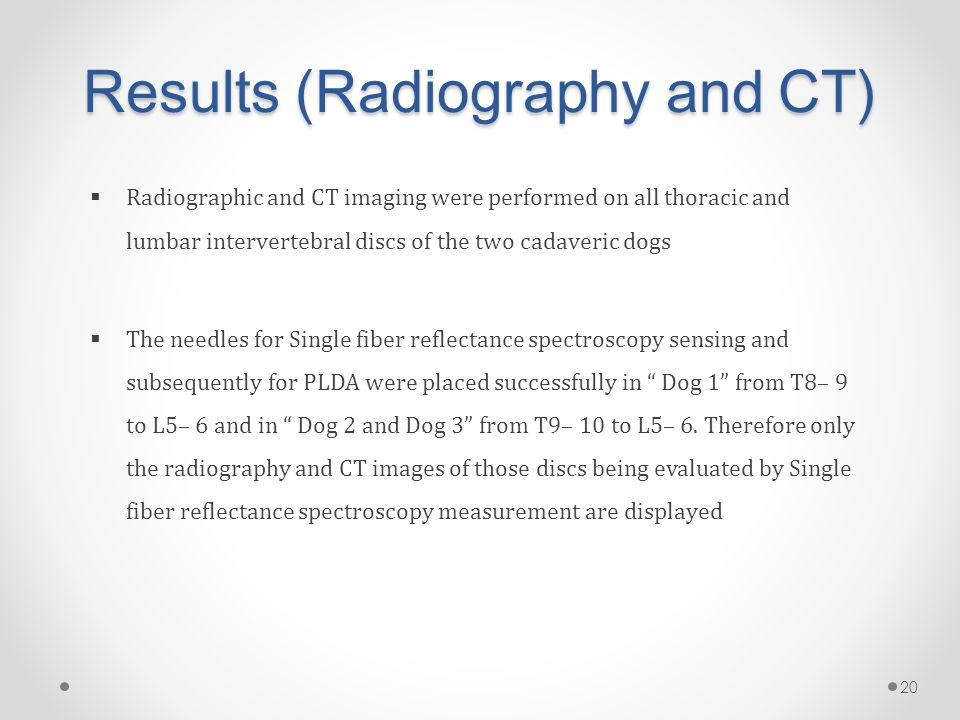 Results (Radiography and CT)  Radiographic and CT imaging were performed on all thoracic and lumbar intervertebral discs of the two cadaveric dogs  The needles for Single fiber reflectance spectroscopy sensing and subsequently for PLDA were placed successfully in Dog 1 from T8– 9 to L5– 6 and in Dog 2 and Dog 3 from T9– 10 to L5– 6.