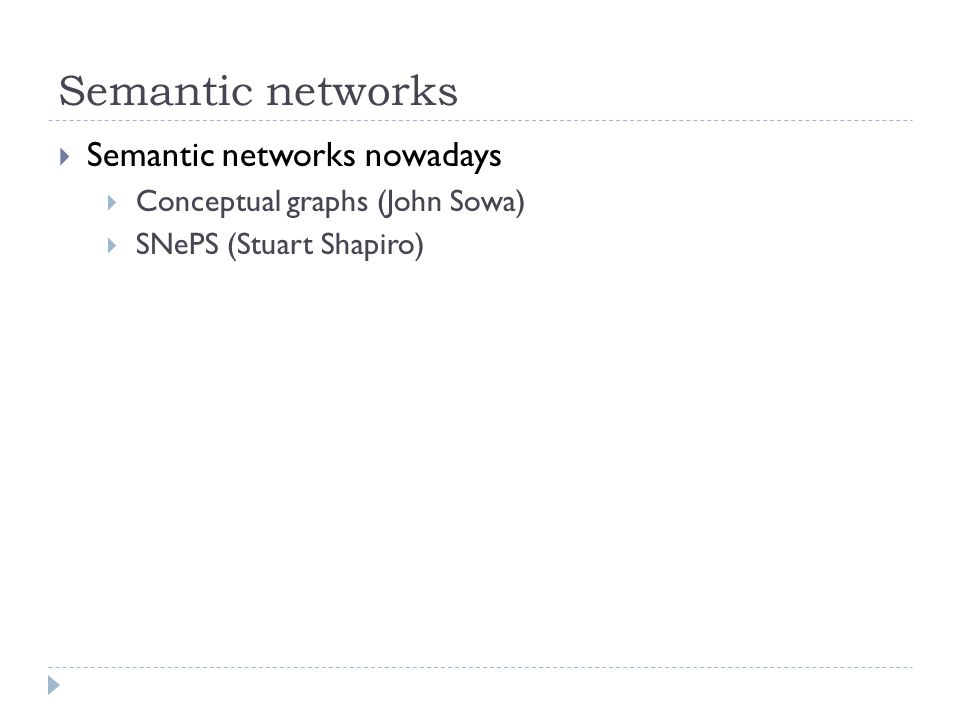 Semantic networks  Semantic networks nowadays  Conceptual graphs (John Sowa)  SNePS (Stuart Shapiro)