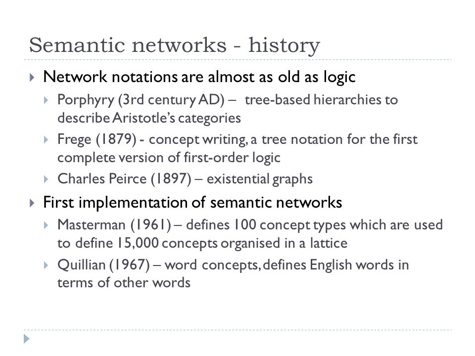 Semantic networks - history  Network notations are almost as old as logic  Porphyry (3rd century AD) – tree-based hierarchies to describe Aristotle'