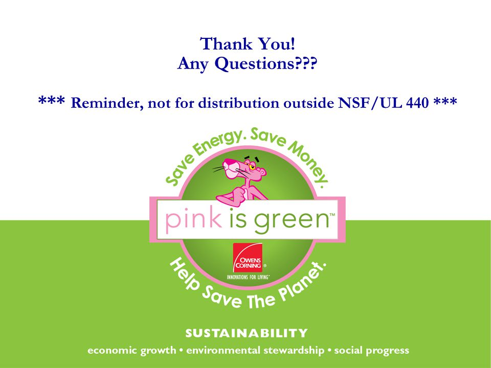 Thank You! Any Questions??? *** Reminder, not for distribution outside NSF/UL 440 ***