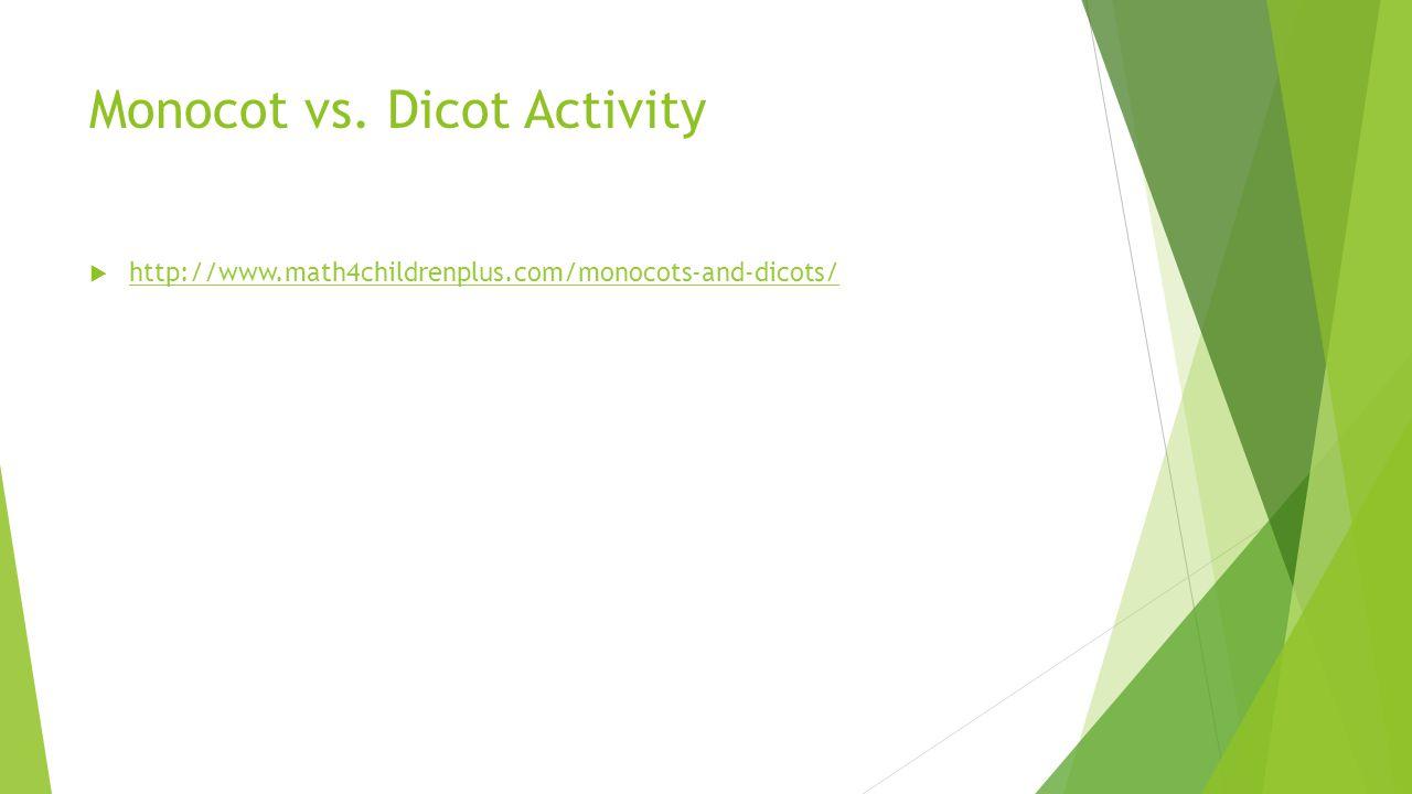 Monocot vs. Dicot Activity  http://www.math4childrenplus.com/monocots-and-dicots/ http://www.math4childrenplus.com/monocots-and-dicots/