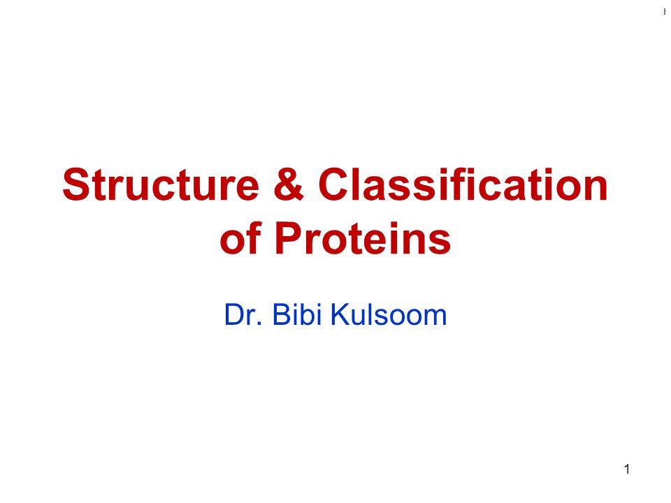 Kulsoom Structure & Classification of Proteins Dr. Bibi Kulsoom 1
