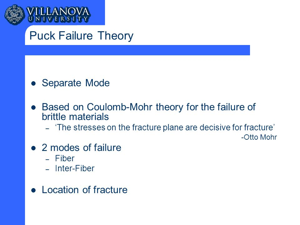 Puck Failure Theory Separate Mode Based on Coulomb-Mohr theory for the failure of brittle materials – 'The stresses on the fracture plane are decisive for fracture' -Otto Mohr 2 modes of failure – Fiber – Inter-Fiber Location of fracture