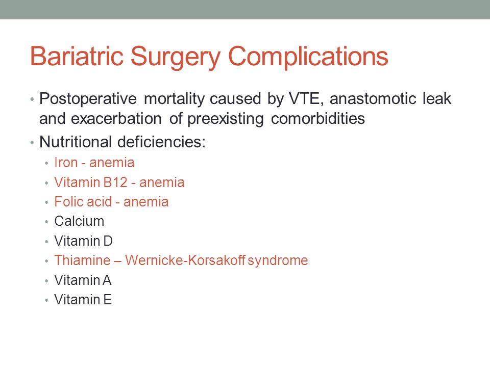 Bariatric Surgery Complications Postoperative mortality caused by VTE, anastomotic leak and exacerbation of preexisting comorbidities Nutritional deficiencies: Iron - anemia Vitamin B12 - anemia Folic acid - anemia Calcium Vitamin D Thiamine – Wernicke-Korsakoff syndrome Vitamin A Vitamin E