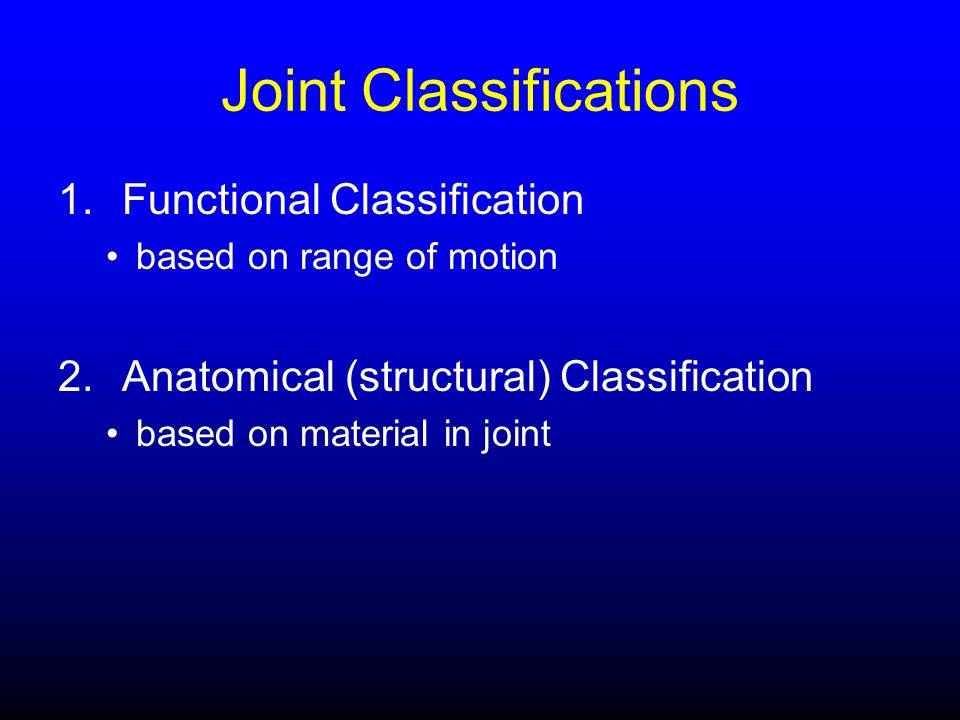 Joint Classifications 1.Functional Classification based on range of motion 2.Anatomical (structural) Classification based on material in joint