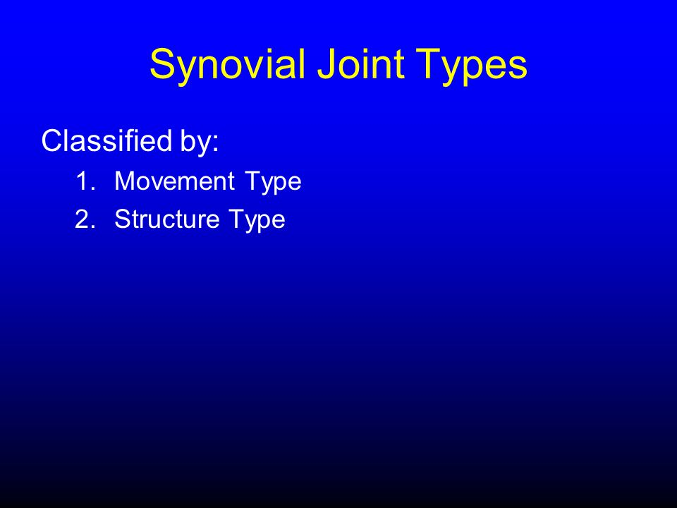Synovial Joint Types Classified by: 1.Movement Type 2.Structure Type