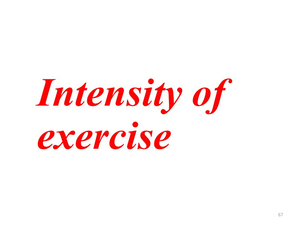 67 Intensity of exercise