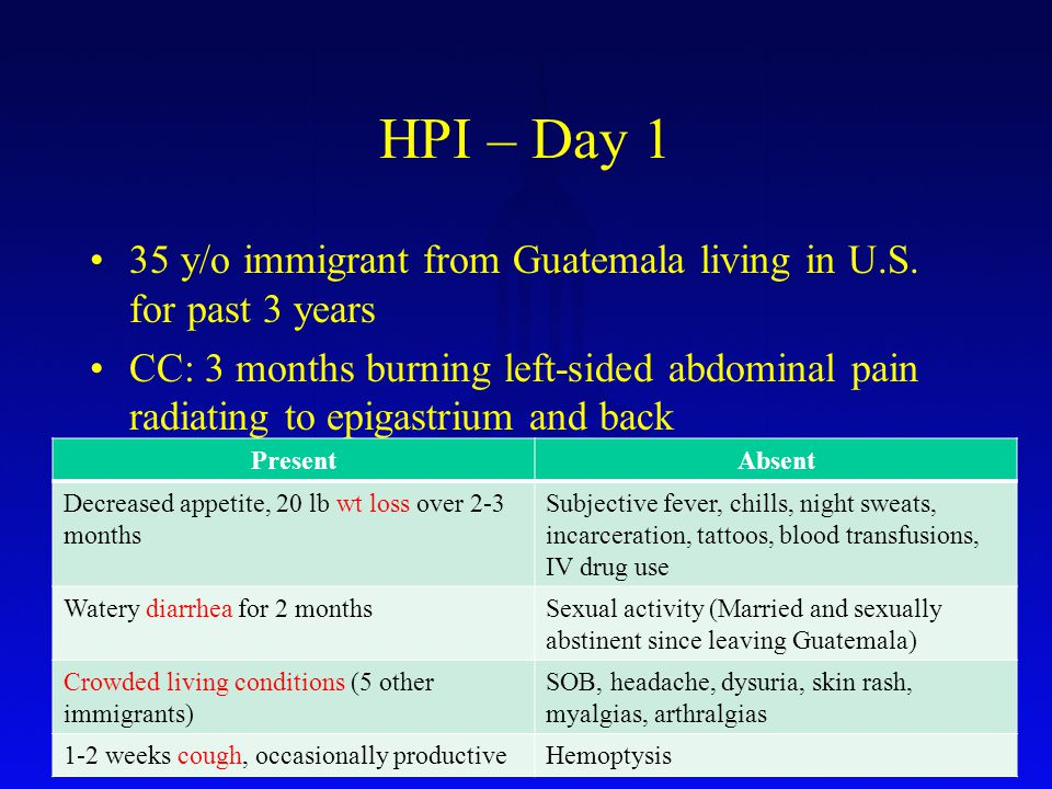 HPI – Day 1 35 y/o immigrant from Guatemala living in U.S.