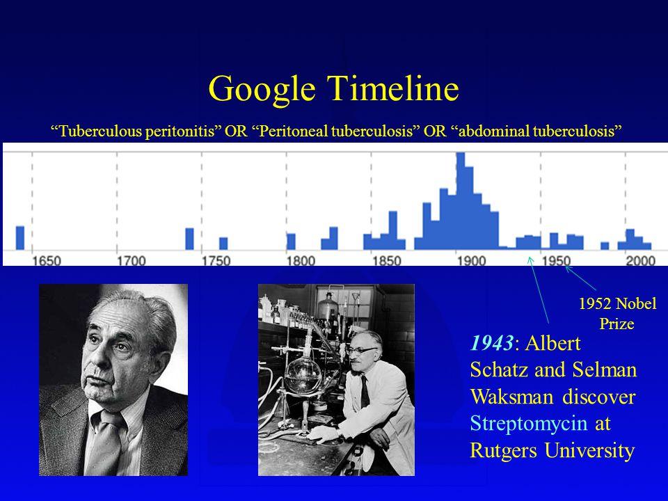 Google Timeline Tuberculous peritonitis OR Peritoneal tuberculosis OR abdominal tuberculosis 1943: Albert Schatz and Selman Waksman discover Streptomycin at Rutgers University 1952 Nobel Prize