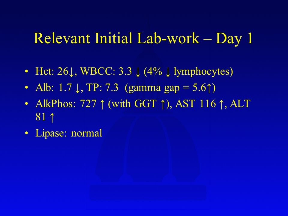 Hospital Course Unstable, ICU transfer – Day 10 –Non-con CT: calcified perihepatic lymph node (missed on CE CT) Liver core biopsy – Day 11 –Granuloma with rare filamentous AFB TB Rx started – Day 11 (I think…) Actinomyces.