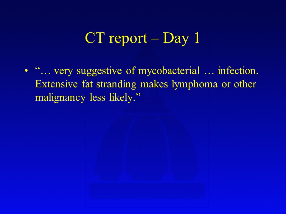 CT report – Day 1 … very suggestive of mycobacterial … infection.