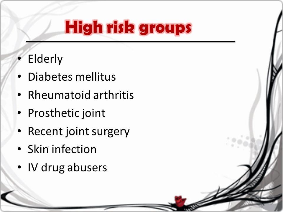 Elderly Diabetes mellitus Rheumatoid arthritis Prosthetic joint Recent joint surgery Skin infection IV drug abusers