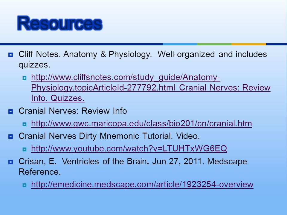  Cliff Notes. Anatomy & Physiology. Well-organized and includes quizzes.  http://www.cliffsnotes.com/study_guide/Anatomy- Physiology.topicArticleId-