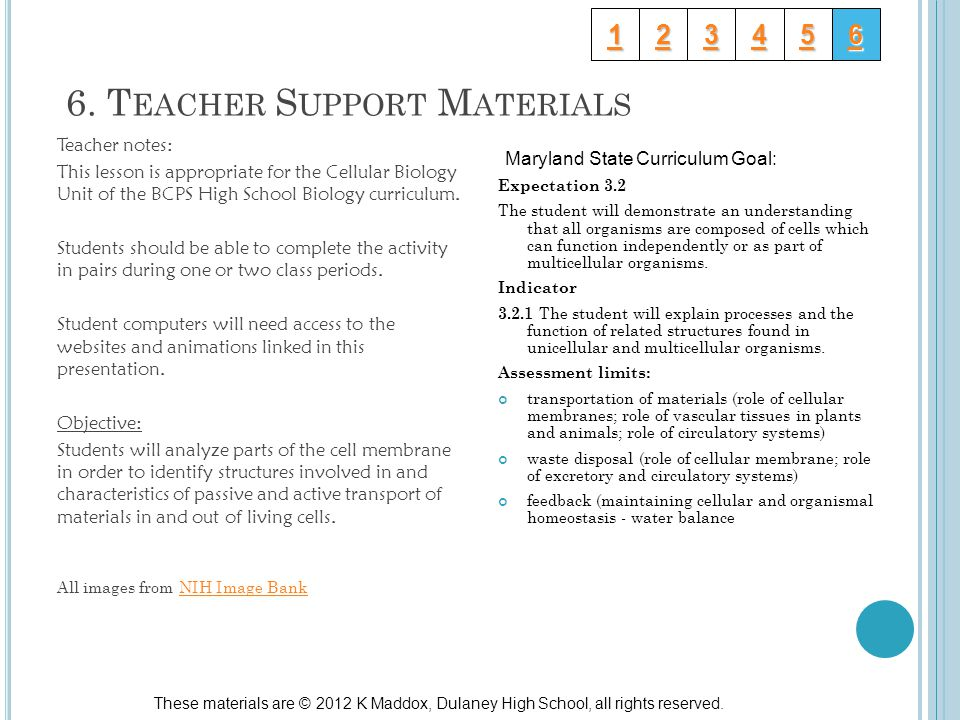 6. T EACHER S UPPORT M ATERIALS Maryland State Curriculum Goal: Expectation 3.2 The student will demonstrate an understanding that all organisms are c