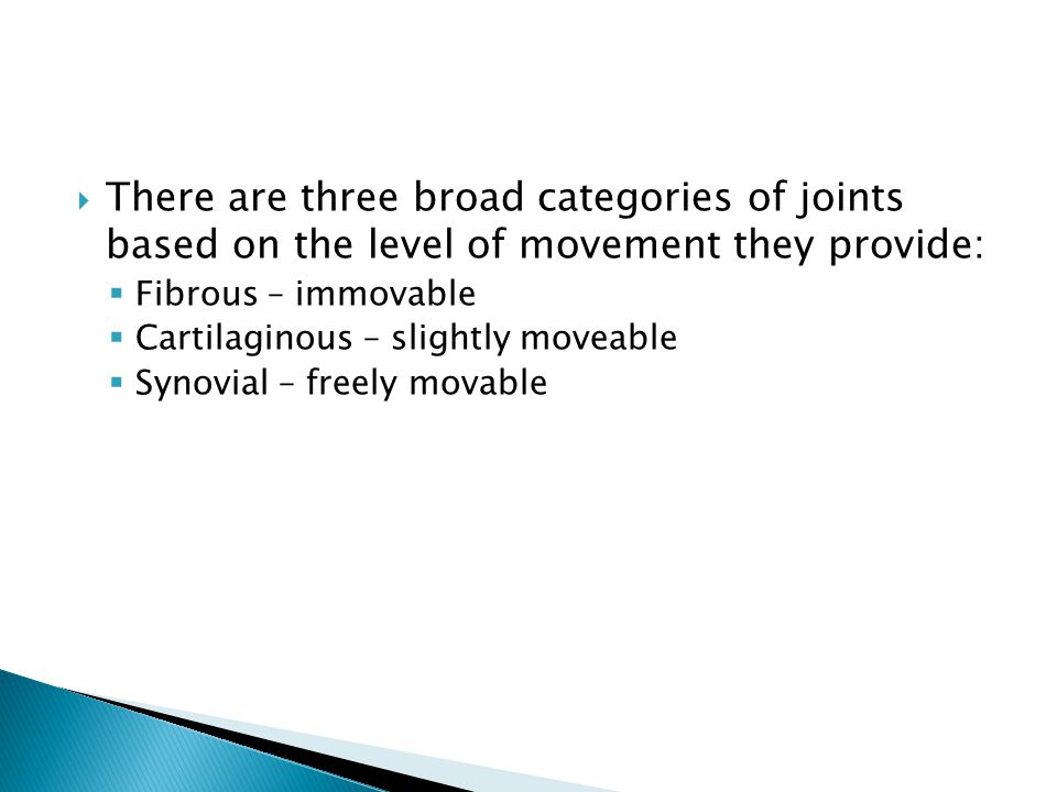  There are three broad categories of joints based on the level of movement they provide:  Fibrous – immovable  Cartilaginous – slightly moveable  Synovial – freely movable