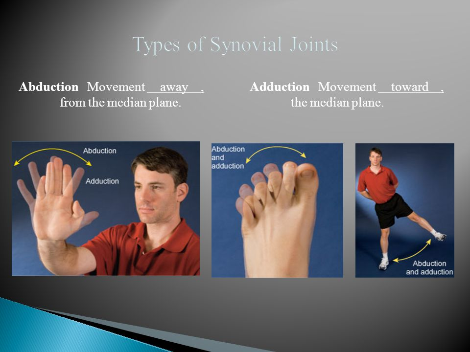 Abduction Movement away, from the median plane. Adduction Movement toward, the median plane.
