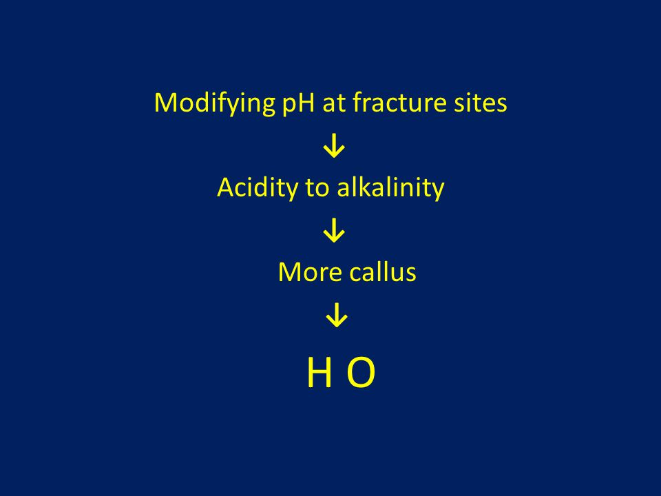Modifying pH at fracture sites ↓ Acidity to alkalinity ↓ More callus ↓ H O