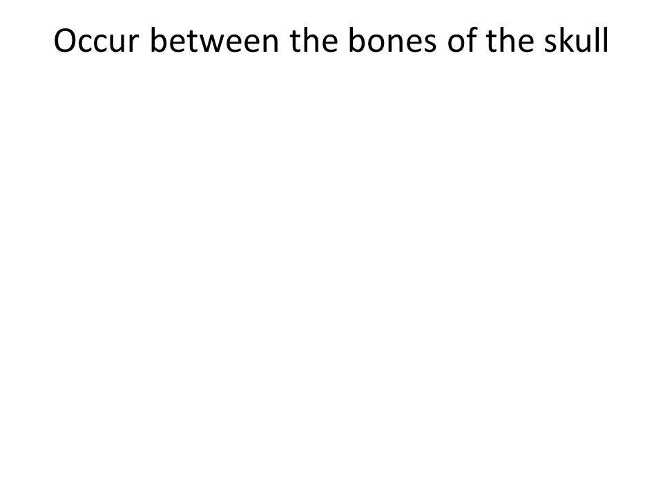 Occur between the bones of the skull