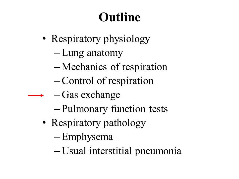 Outline Respiratory physiology – Lung anatomy – Mechanics of respiration – Control of respiration – Gas exchange – Pulmonary function tests Respiratory pathology – Emphysema – Usual interstitial pneumonia