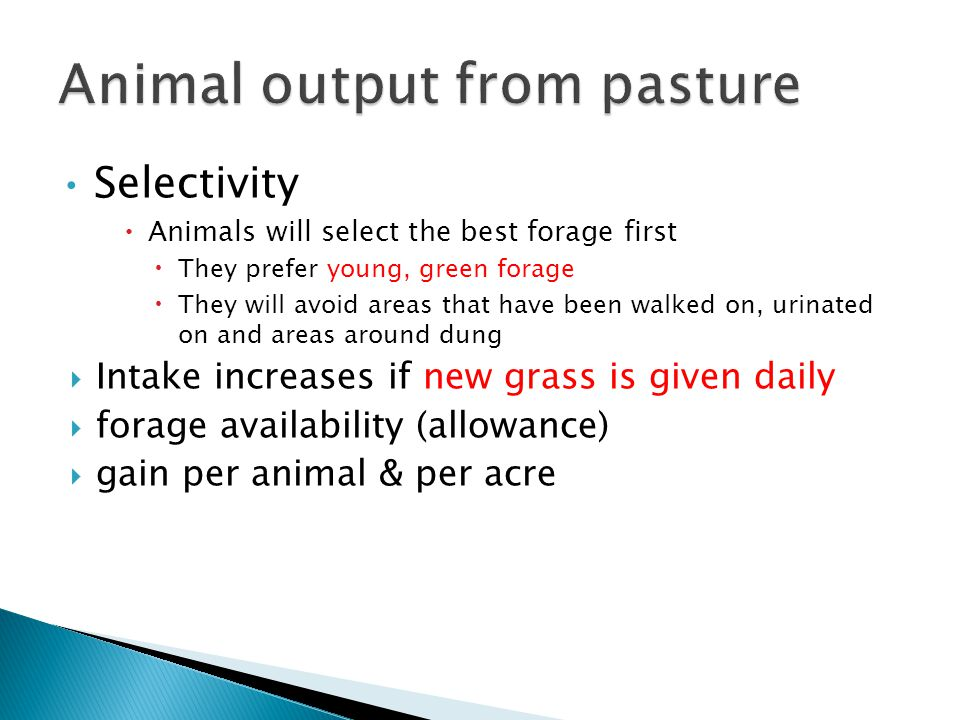 Selectivity  Animals will select the best forage first  They prefer young, green forage  They will avoid areas that have been walked on, urinated on and areas around dung  Intake increases if new grass is given daily  forage availability (allowance)  gain per animal & per acre