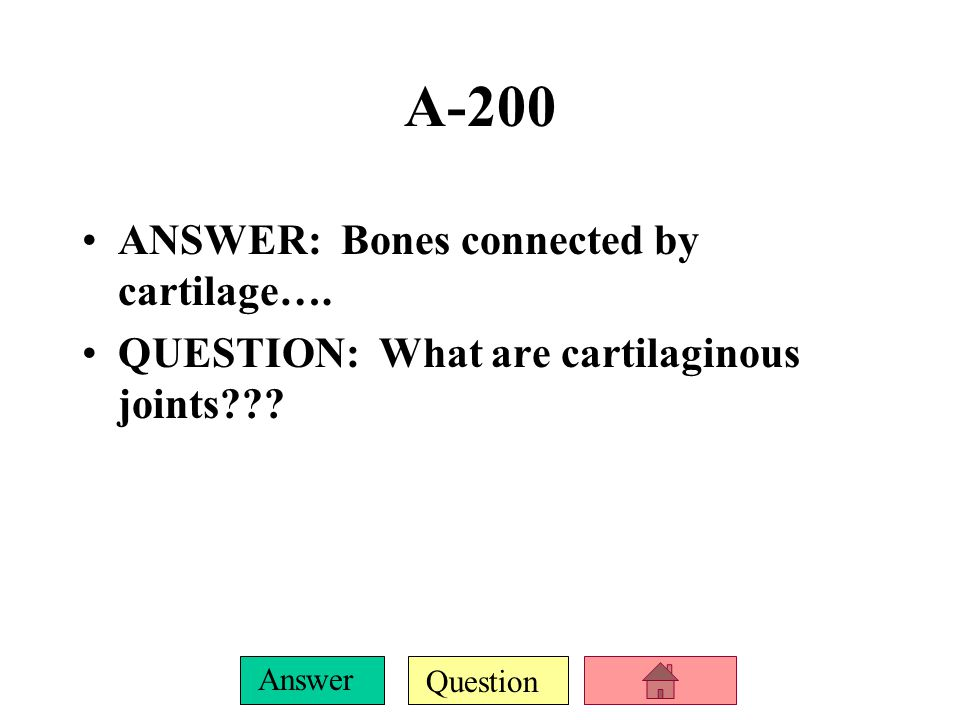 Question Answer A-100 ANSWER: Bones connected by fibrous tissue QUESTION: What are fibrous joints?