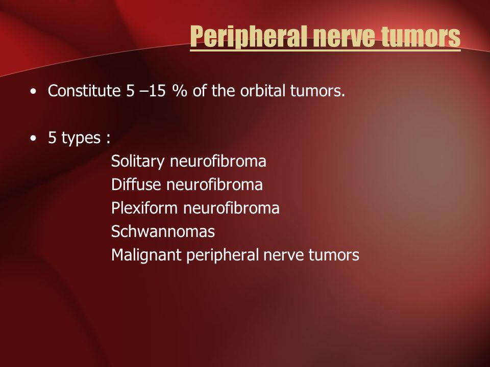 Peripheral nerve tumors Constitute 5 –15 % of the orbital tumors. 5 types : Solitary neurofibroma Diffuse neurofibroma Plexiform neurofibroma Schwanno