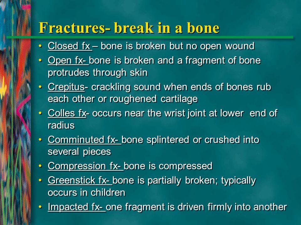 Fractures- break in a bone Closed fx – bone is broken but no open wound Open fx- bone is broken and a fragment of bone protrudes through skin Crepitus