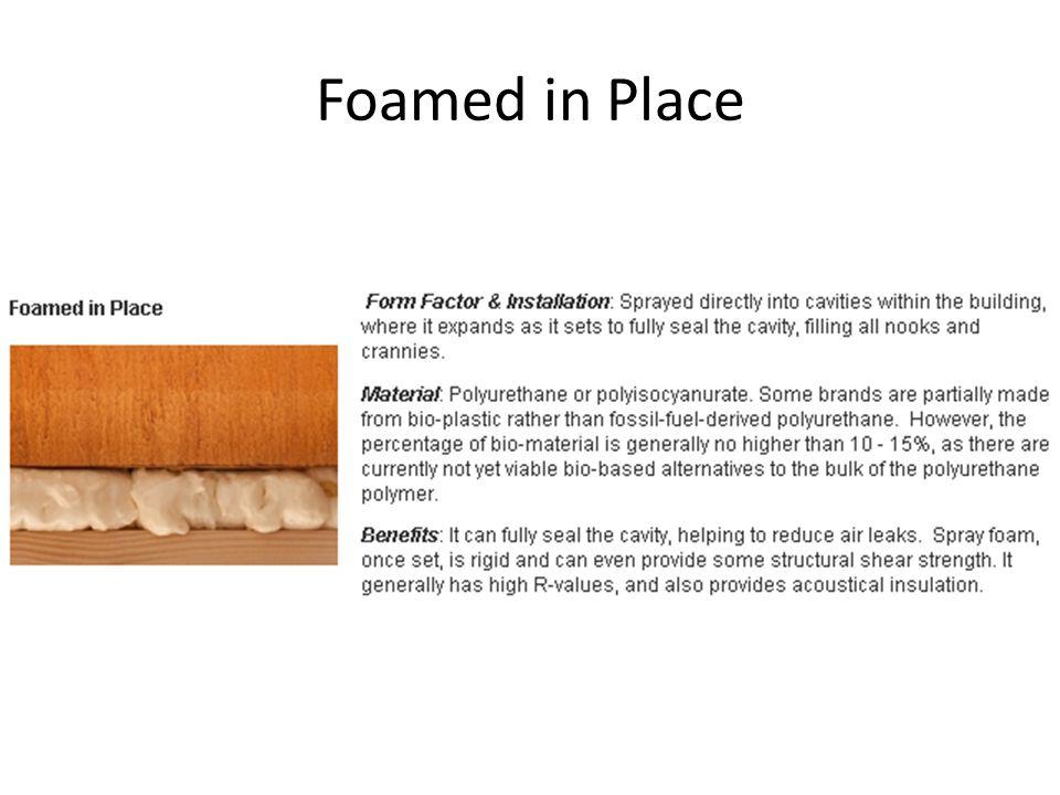 Foamed in Place