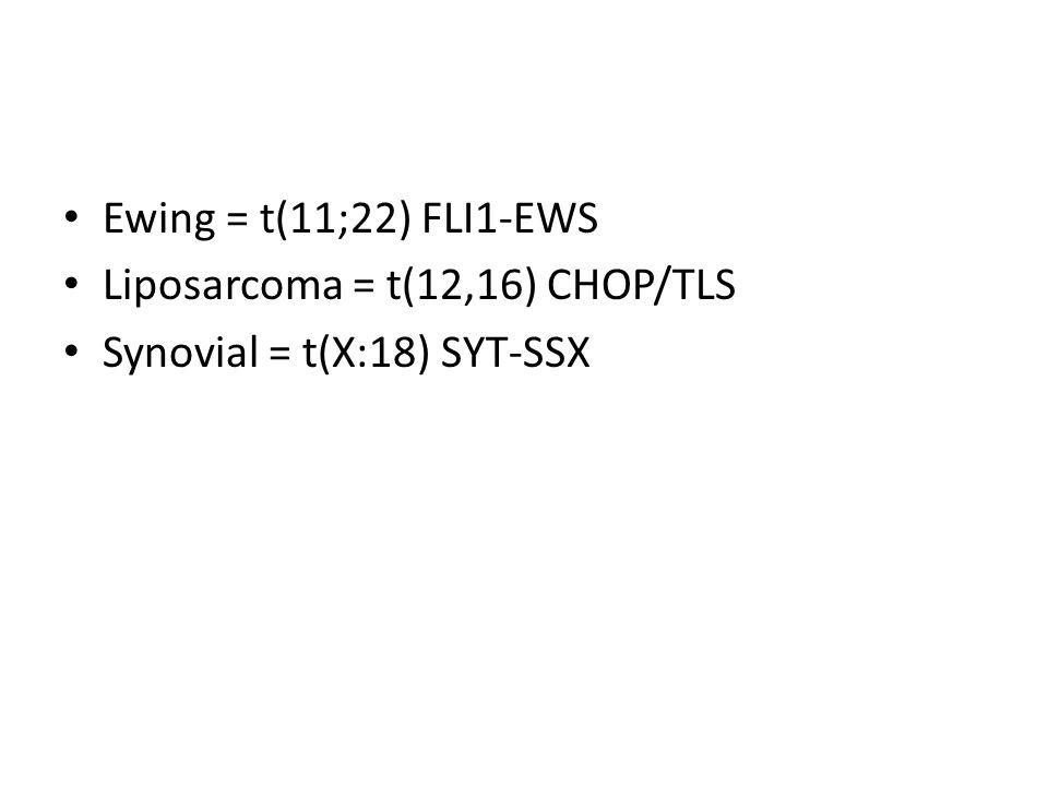 Ewing = t(11;22) FLI1-EWS Liposarcoma = t(12,16) CHOP/TLS Synovial = t(X:18) SYT-SSX