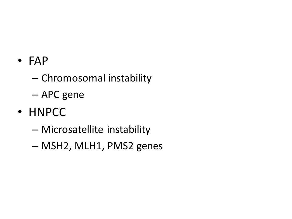 FAP – Chromosomal instability – APC gene HNPCC – Microsatellite instability – MSH2, MLH1, PMS2 genes