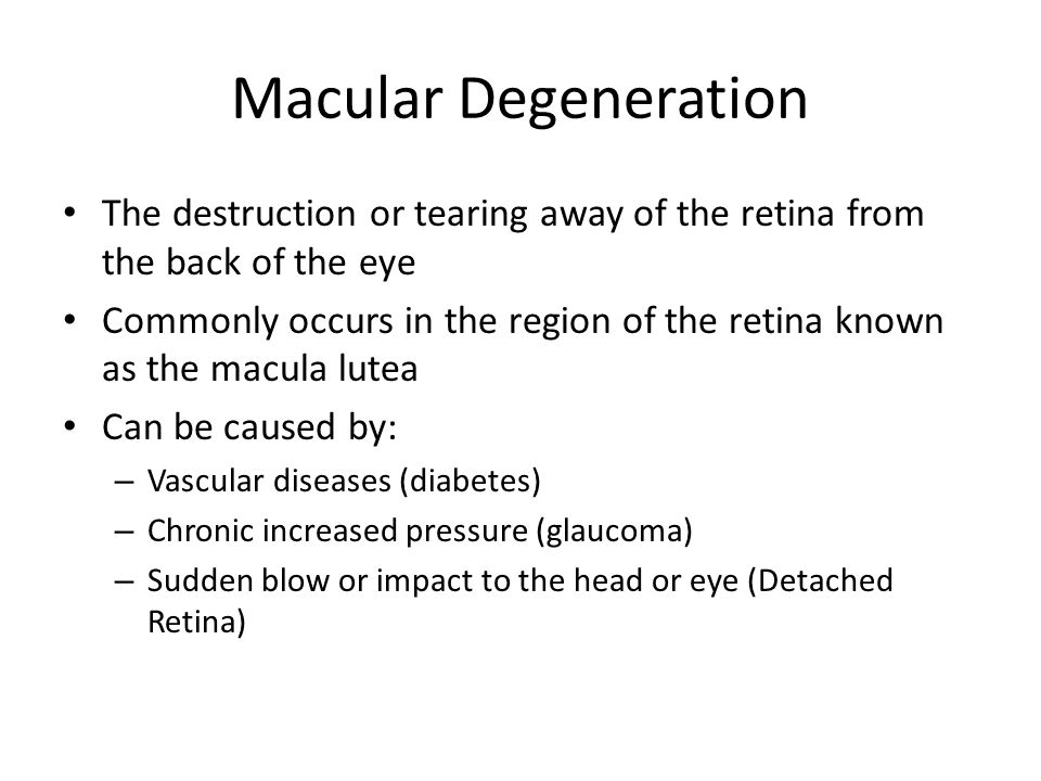 Macular Degeneration The destruction or tearing away of the retina from the back of the eye Commonly occurs in the region of the retina known as the macula lutea Can be caused by: – Vascular diseases (diabetes) – Chronic increased pressure (glaucoma) – Sudden blow or impact to the head or eye (Detached Retina)