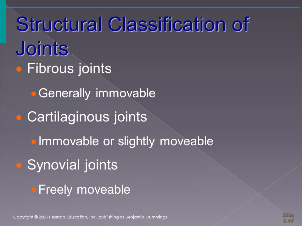 Structural Classification of Joints Copyright © 2003 Pearson Education, Inc. publishing as Benjamin Cummings  Fibrous joints  Generally immovable 