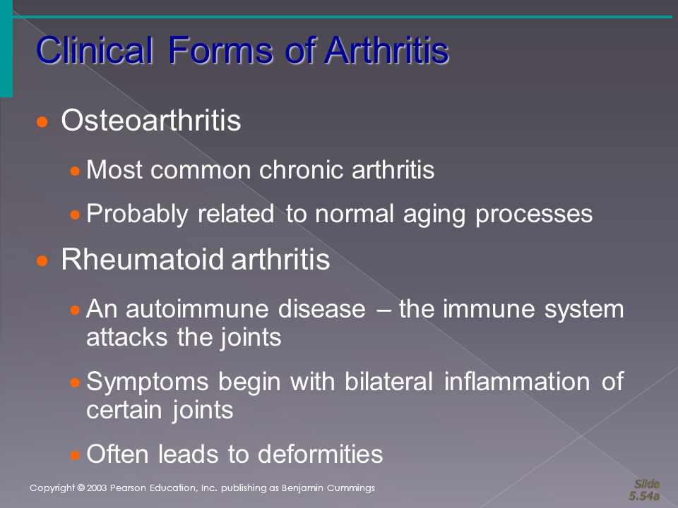 Clinical Forms of Arthritis Copyright © 2003 Pearson Education, Inc. publishing as Benjamin Cummings  Osteoarthritis  Most common chronic arthritis