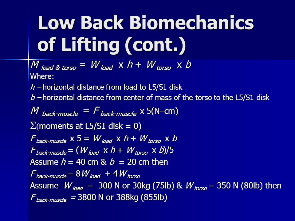 Low Back Biomechanics of Lifting (cont.) M load & torso = W load x h + W torso x b Where: h – horizontal distance from load to L5/S1 disk b – horizontal distance from center of mass of the torso to the L5/S1 disk M back-muscle = F back-muscle x 5(N–cm)   moments at L5/S1 disk = 0) F back-muscle x 5 = W load x h + W torso x b F back-muscle = (W load x h + W torso x b)/5 Assume h = 40 cm & b = 20 cm then F back-muscle = 8W load + 4W torso Assume W load = 300 N or 30kg (75lb) & W torso = 350 N (80lb) then F back-muscle = 3800 N or 388kg (855lb)
