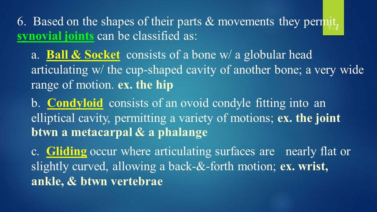 7 - 9 d.Hinge a convex surface fits into a concave surface movement is in one plane only ex.