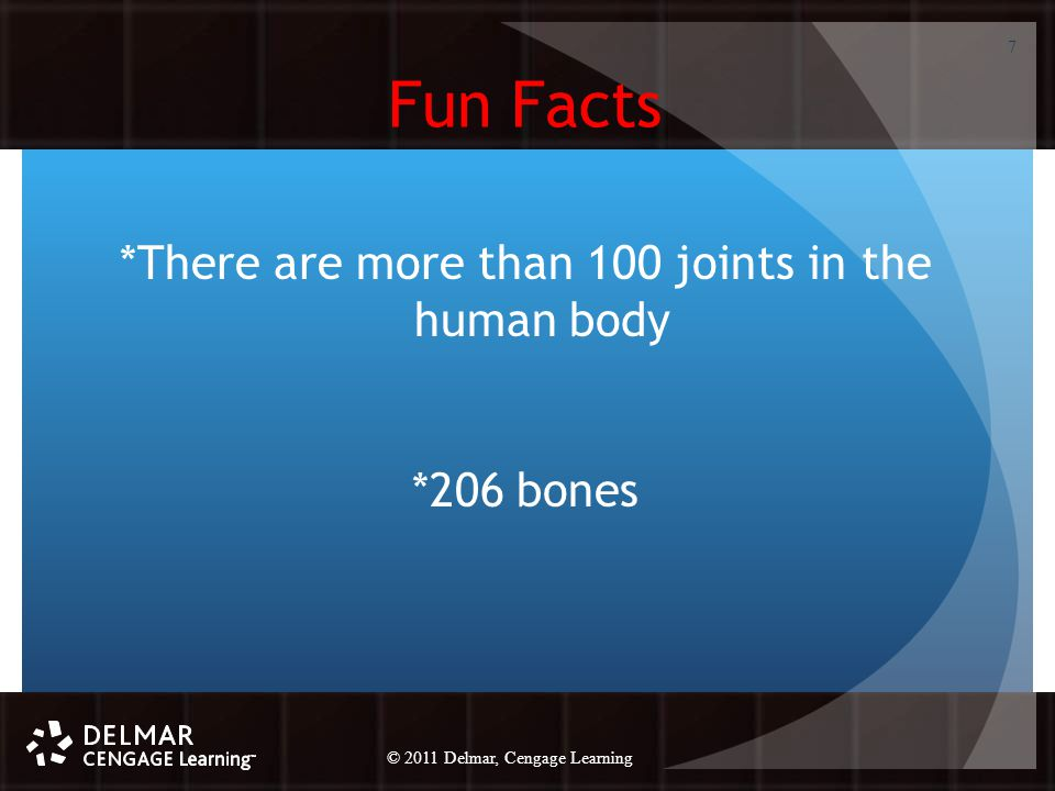 © 2010 Delmar, Cengage Learning 7 © 2011 Delmar, Cengage Learning Fun Facts *There are more than 100 joints in the human body *206 bones 7
