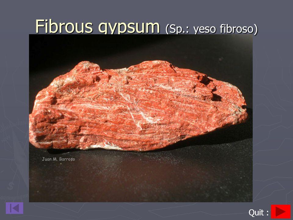 Fibrous gypsum (Sp.: yeso fibroso) Quit :