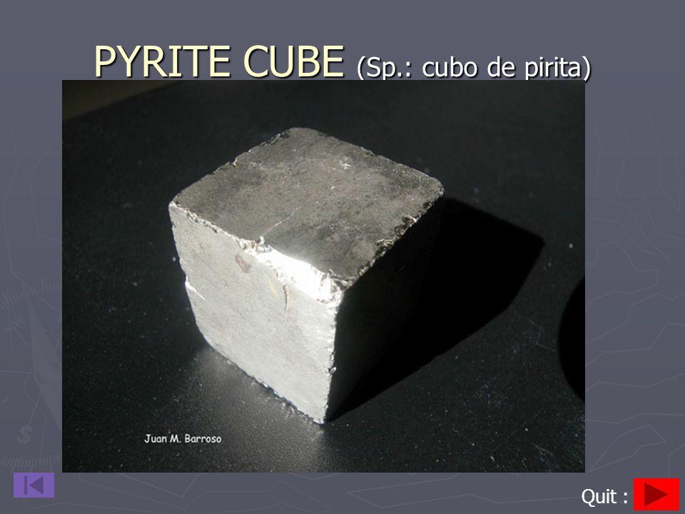PYRITE CUBE (Sp.: cubo de pirita) Quit :