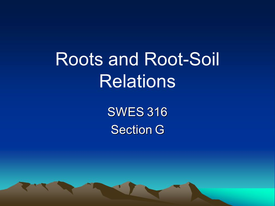 Roots and Root-Soil Relations SWES 316 Section G
