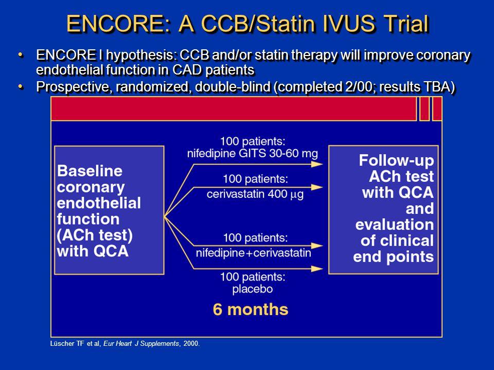 ENCORE: A CCB/Statin IVUS Trial Lüscher TF et al, Eur Heart J Supplements, 2000.