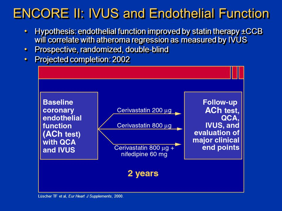 Hypothesis: endothelial function improved by statin therapy ±CCB will correlate with atheroma regression as measured by IVUS Hypothesis: endothelial function improved by statin therapy ±CCB will correlate with atheroma regression as measured by IVUS Prospective, randomized, double-blind Prospective, randomized, double-blind Projected completion: 2002 Projected completion: 2002 Hypothesis: endothelial function improved by statin therapy ±CCB will correlate with atheroma regression as measured by IVUS Hypothesis: endothelial function improved by statin therapy ±CCB will correlate with atheroma regression as measured by IVUS Prospective, randomized, double-blind Prospective, randomized, double-blind Projected completion: 2002 Projected completion: 2002 Lüscher TF et al, Eur Heart J Supplements, 2000.