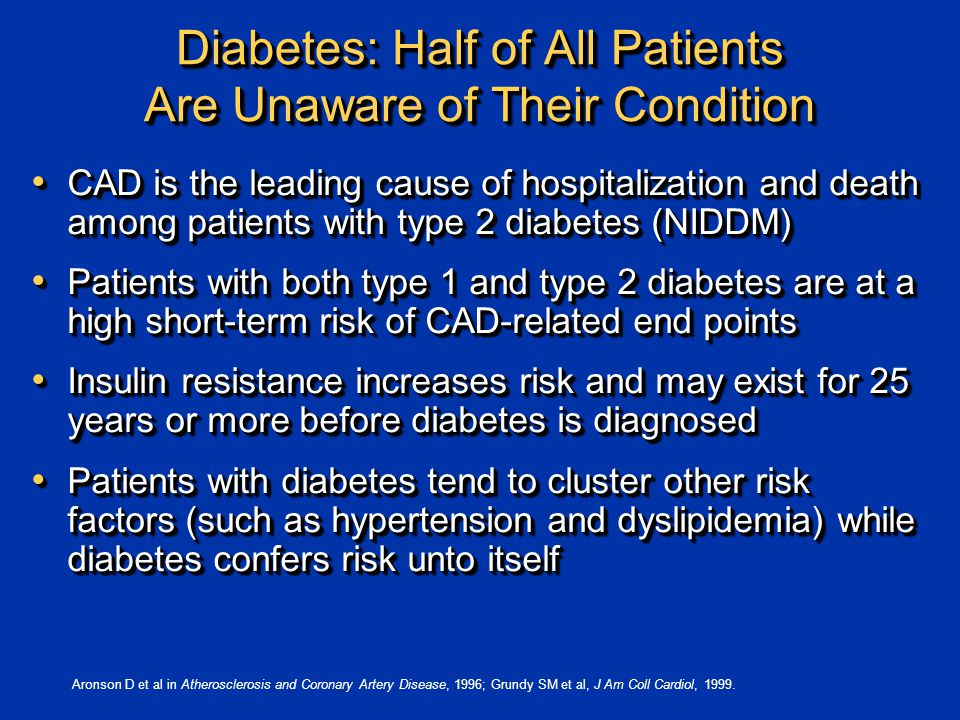 Diabetes: Half of All Patients Are Unaware of Their Condition CAD is the leading cause of hospitalization and death among patients with type 2 diabetes (NIDDM) CAD is the leading cause of hospitalization and death among patients with type 2 diabetes (NIDDM) Patients with both type 1 and type 2 diabetes are at a high short-term risk of CAD-related end points Patients with both type 1 and type 2 diabetes are at a high short-term risk of CAD-related end points Insulin resistance increases risk and may exist for 25 years or more before diabetes is diagnosed Insulin resistance increases risk and may exist for 25 years or more before diabetes is diagnosed Patients with diabetes tend to cluster other risk factors (such as hypertension and dyslipidemia) while diabetes confers risk unto itself Patients with diabetes tend to cluster other risk factors (such as hypertension and dyslipidemia) while diabetes confers risk unto itself CAD is the leading cause of hospitalization and death among patients with type 2 diabetes (NIDDM) CAD is the leading cause of hospitalization and death among patients with type 2 diabetes (NIDDM) Patients with both type 1 and type 2 diabetes are at a high short-term risk of CAD-related end points Patients with both type 1 and type 2 diabetes are at a high short-term risk of CAD-related end points Insulin resistance increases risk and may exist for 25 years or more before diabetes is diagnosed Insulin resistance increases risk and may exist for 25 years or more before diabetes is diagnosed Patients with diabetes tend to cluster other risk factors (such as hypertension and dyslipidemia) while diabetes confers risk unto itself Patients with diabetes tend to cluster other risk factors (such as hypertension and dyslipidemia) while diabetes confers risk unto itself Aronson D et al in Atherosclerosis and Coronary Artery Disease, 1996; Grundy SM et al, J Am Coll Cardiol, 1999.