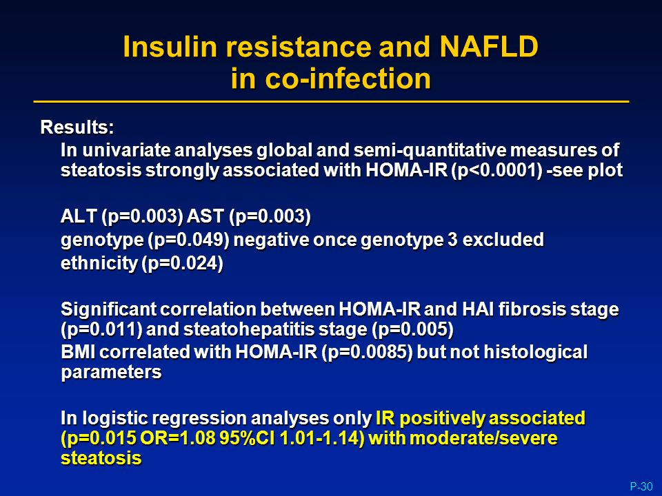 P-30 Insulin resistance and NAFLD in co-infection Results: In univariate analyses global and semi-quantitative measures of steatosis strongly associat